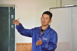 石坂による大学や企業連携の説明