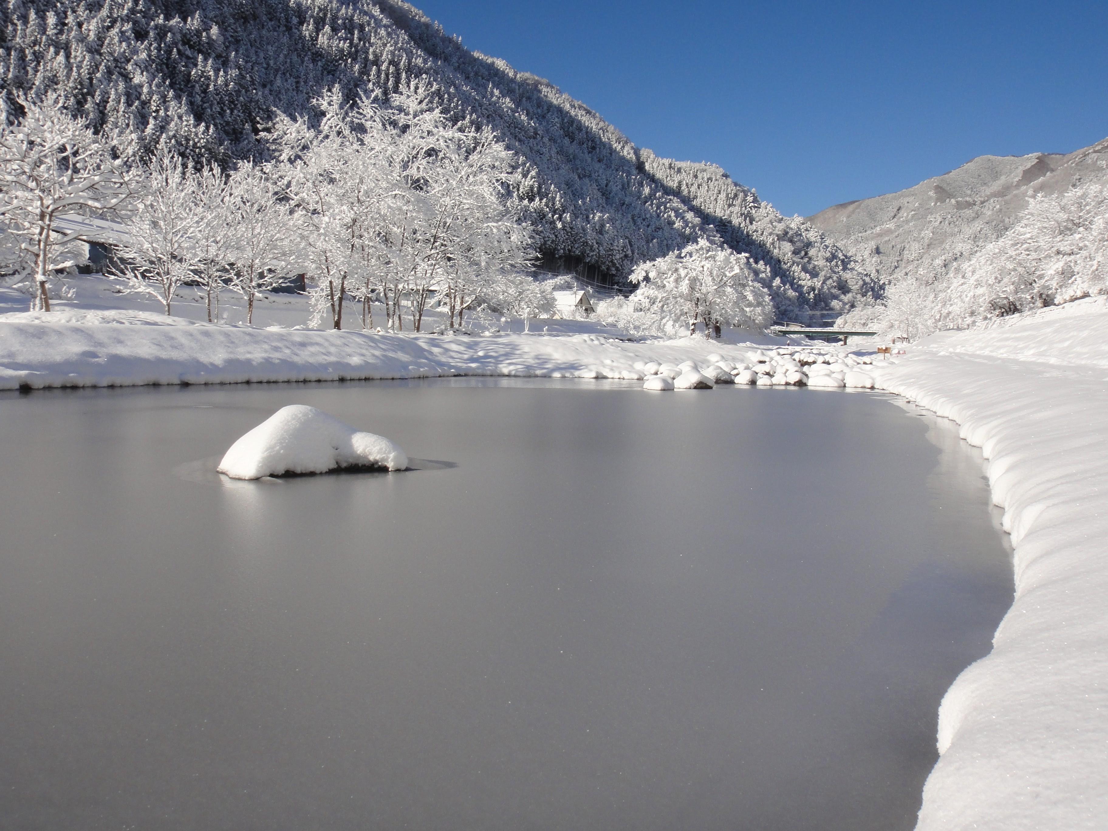 寒い冬は小菅村が雪と氷で包まれます